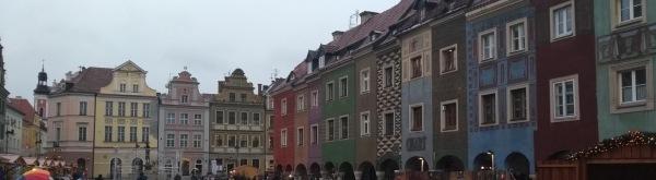 Poznan town square, multicoloured blocks