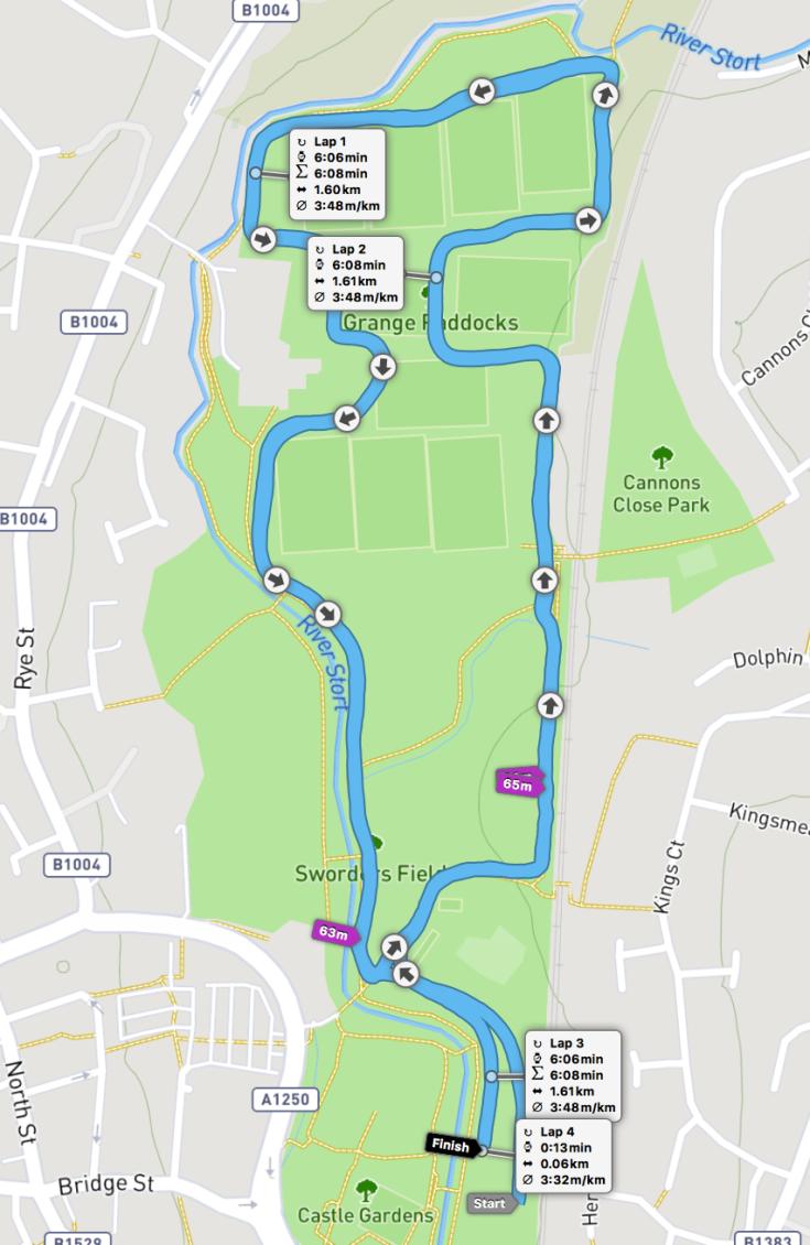 Castle Park parkrun route
