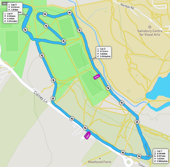 Colney Lane parkrun route