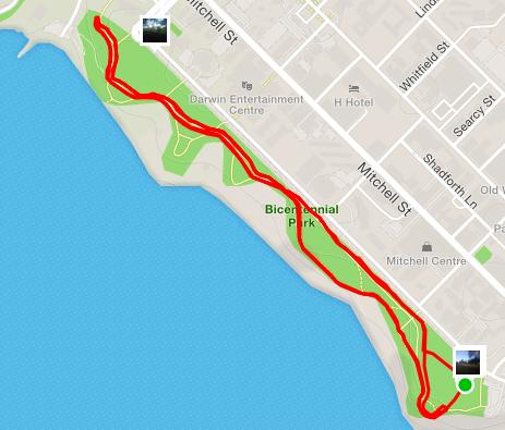 Darwin parkrun route