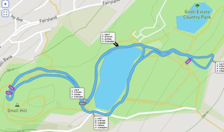 Gnoll parkrun route