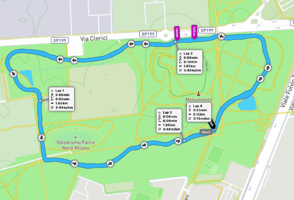 Milano Nord parkrun route