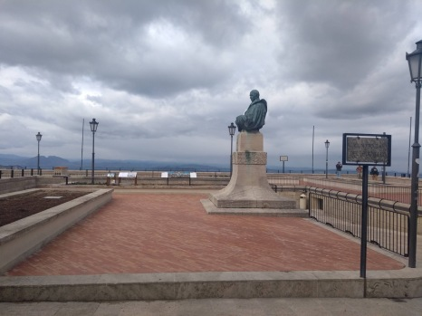 Statue and plaza with views