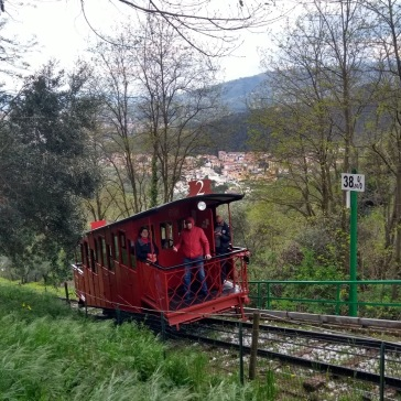 The joy of stopping to take a photo while the funicular rolls by