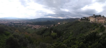 Panorama of valley, trees and houses in Montecatini, village of Montecatini Alto to the right
