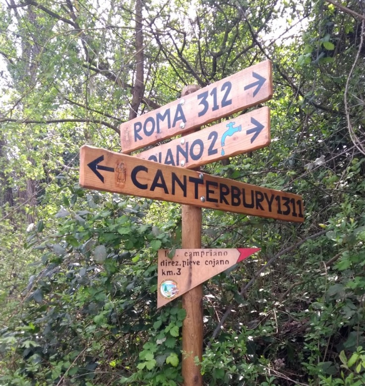 Sign with distances. Roma 312, Canterbury 1311