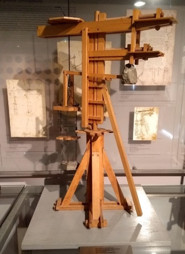 Wooden model of a revolving crane, about 80cm high