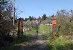 Old gate, large pink house at the top of the drive