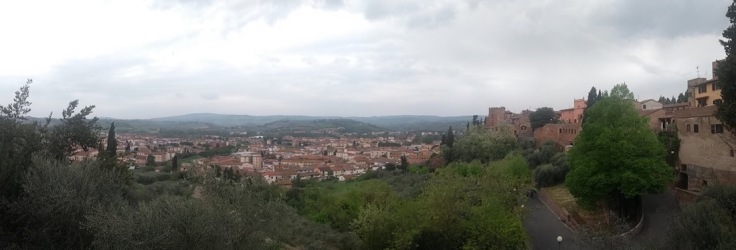 Panoramic view from Certaldo Alto; town below, green hills beyond