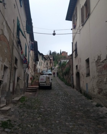 Cobbled path by the funicular, lined by houses