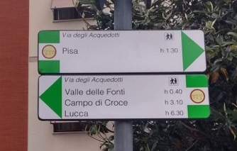 Pisa 1.5hrs. Lucca 6.3. Only if you stop