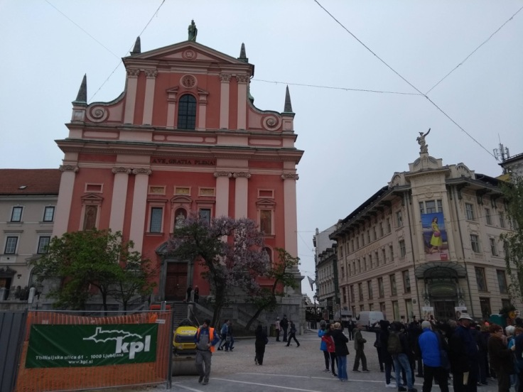 Prešernov trg Square with the Franciscan Church