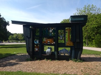 Noah's ark installation at a park entrance, with colourful animals