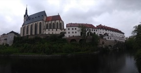 Church and buildings on the riverfront