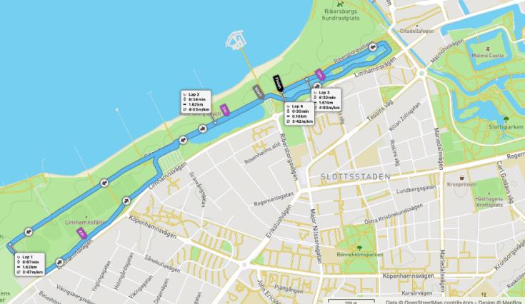 Malmo Ribersborg parkrun route