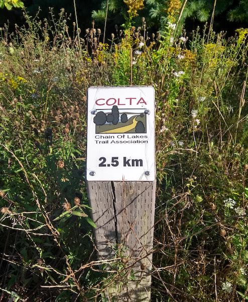 Halfway marker, COLTA 2.5km (Chain Of Lakes Trail Association)