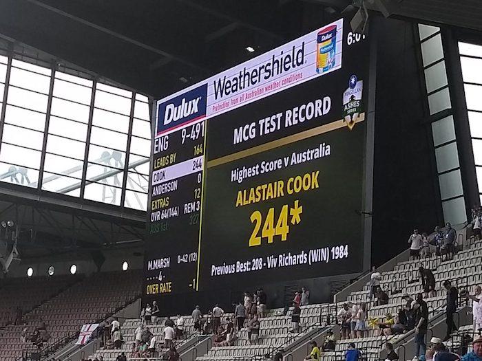 Score board showing Cook's score of 244*
