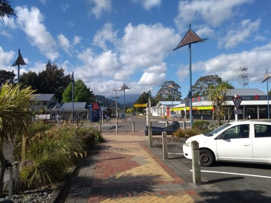Ohakune town centre, with pretty mosaic-style pavement
