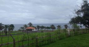 View over the sea, looking out over a new housing development
