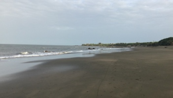Wide beach lapped by waves, bay curving round up ahead