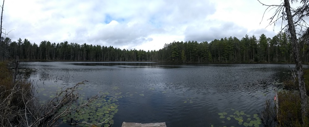 Bat Lake, ringed by trees