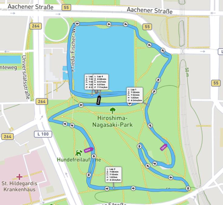 Aachener Weiher parkrun route.