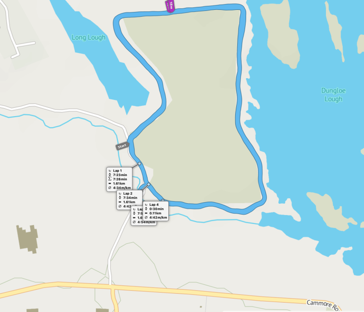 Dungloe parkrun route map, with view of two loughs
