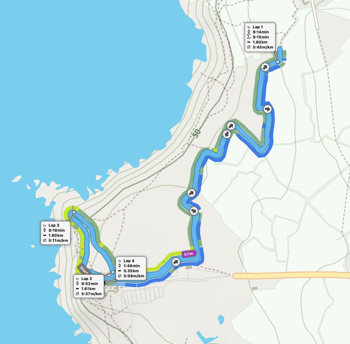 Land's End parkrun route