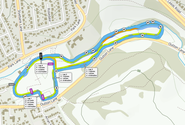 Rothwell parkrun route