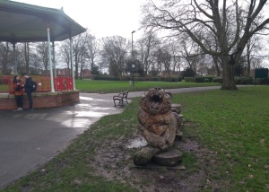 Roaring Tiger sculpture, next to the bandstand