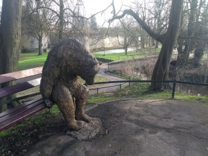 Mourning bear statue
