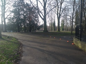 Cage to the right, wide path for the route.