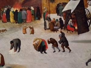 People lining up to throw snowballs at a man on the floor; detail from a painting