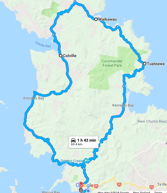 Route map, loop North from Coromandel Town