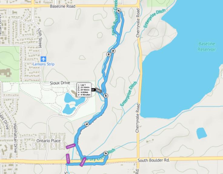 South Boulder Creek parkrun route