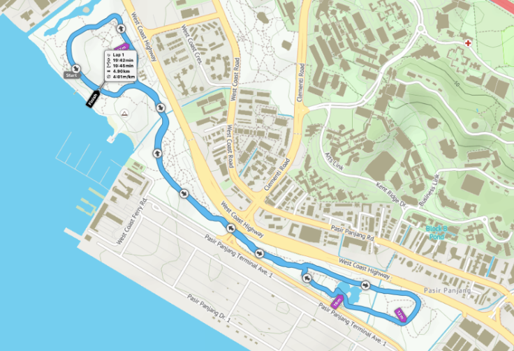 West Coast parkrun route